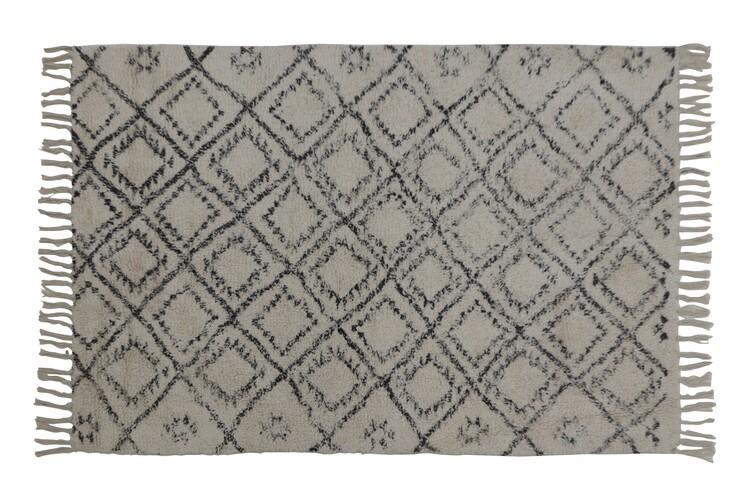 Carpet Boyaka - Black-White Rhombus Print Textile