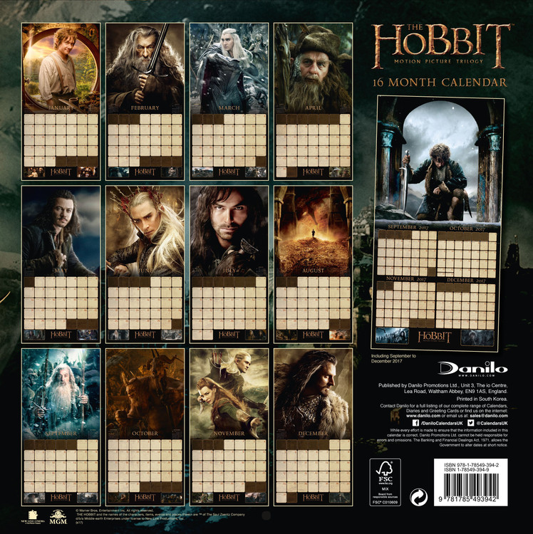 The Hobbit   Wall Calendars | Large selection