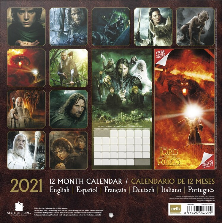 Calendrier Ring 2021 The Lord Of The Ring   Wall Calendars | Large selection