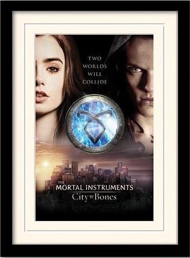 THE MORTAL INSTRUMENTS : LA CITÉ DES TÉNÈBRES – two worlds  Poster encadré en verre