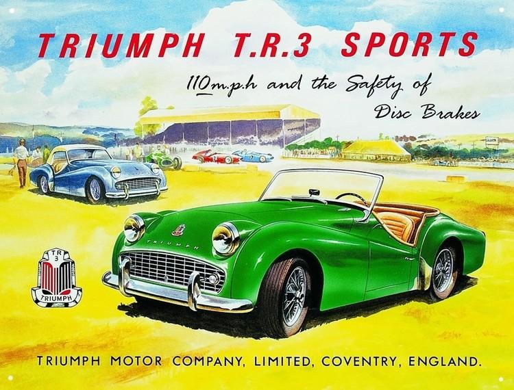 TRIUMPH TR3 Plaque métal décorée