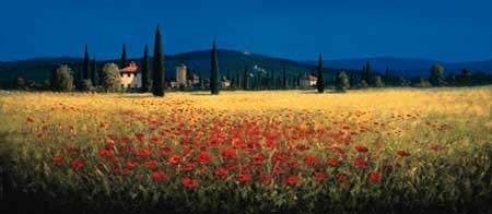 TUSCAN PANORAMA - POPPIES Reproduction