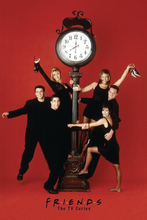 Valokuvatapetti Friends - Red wall clock