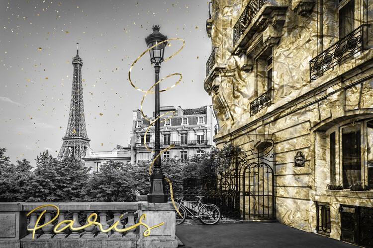 Valokuvatapetti Parisian Charm   golden