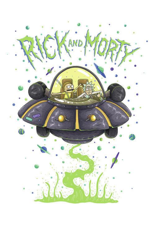 Valokuvatapetti Rick & Morty - Avaruusalus