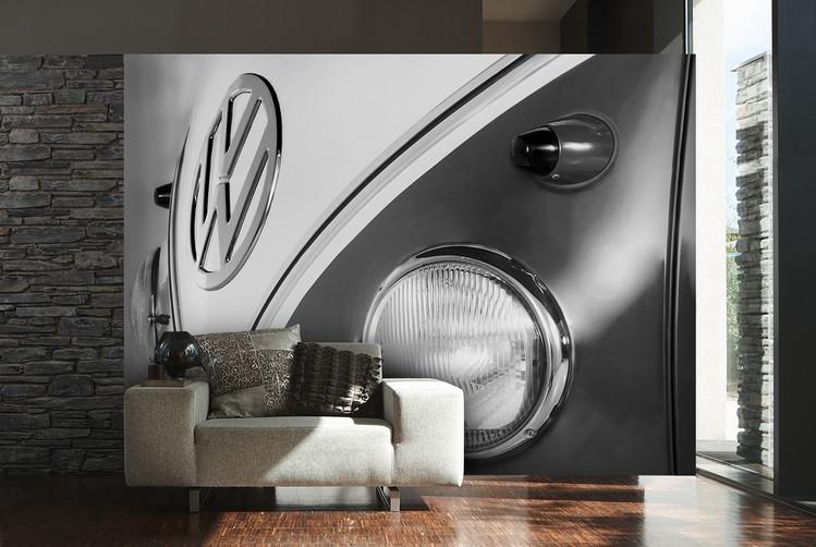 Valokuvatapetti Volkswagen - Camper badge black & white
