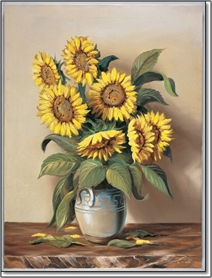 Vase of Sunflowers Reproduction d'art