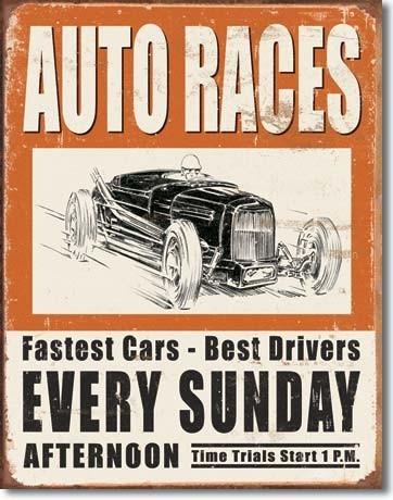 VINTAGE AUTO RACES Plaque métal décorée