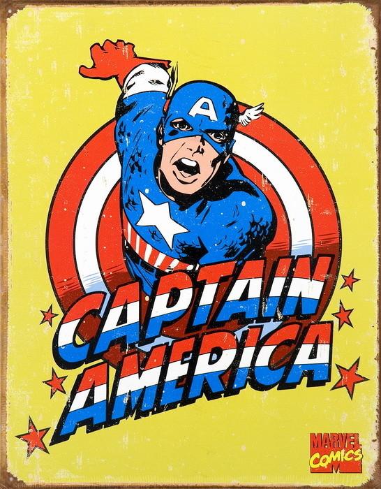 VINTAGE CAPTAIN AMERICA Plaque métal décorée