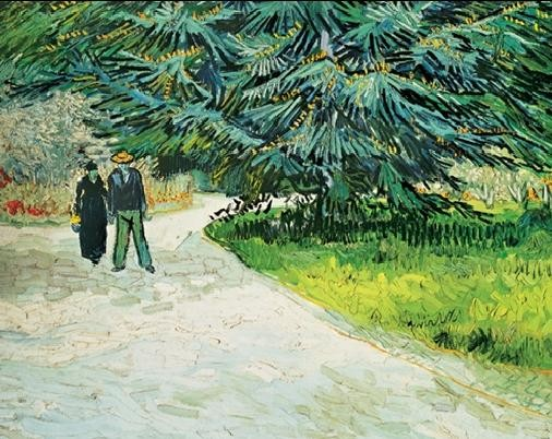 Public Garden with Couple and Blue Fir Tree - The Poet s Garden III, 1888 Art Print
