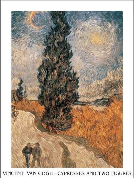 Road with Cypress and Star - Country Road in Provence by Night, 1890 Art Print