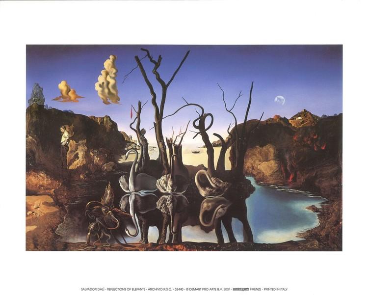 Swans Reflecting Elephants, 1937 Art Print