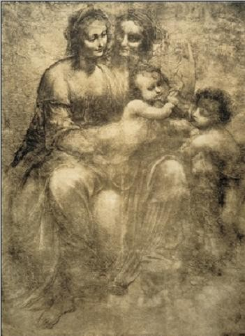 The Virgin and Child with St Anne and St John the Baptist - Burlington House Cartoon Art Print