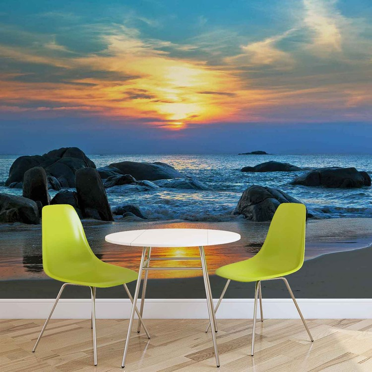 Beach Rocks Sea Sunset Sun Poster Mural