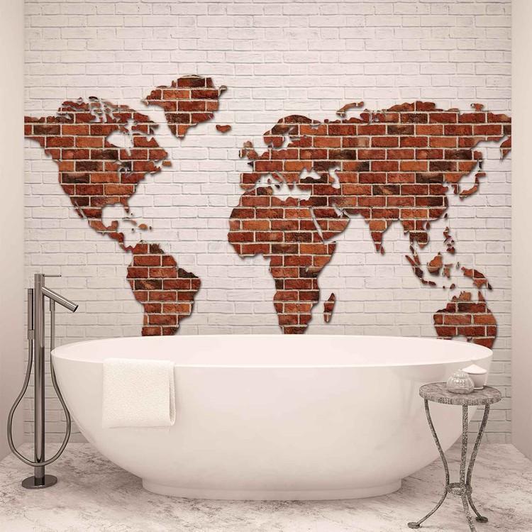 Brick Wall World Map Poster Mural