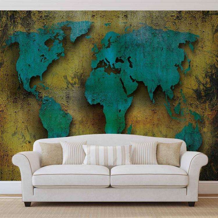 Carte du monde sur le bois Poster Mural