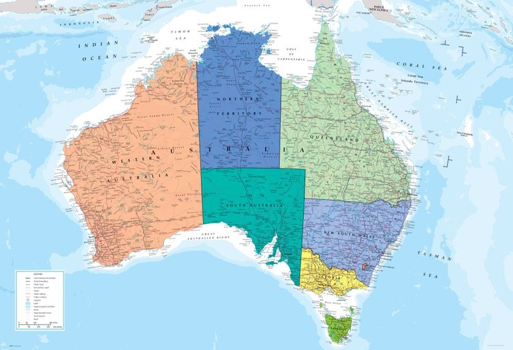 Carte politique de l'Australie Poster Mural