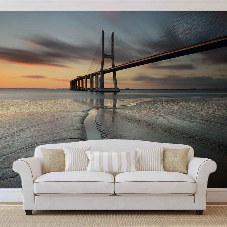 City Bridge Beach Sun Portugal Sunset Poster Mural