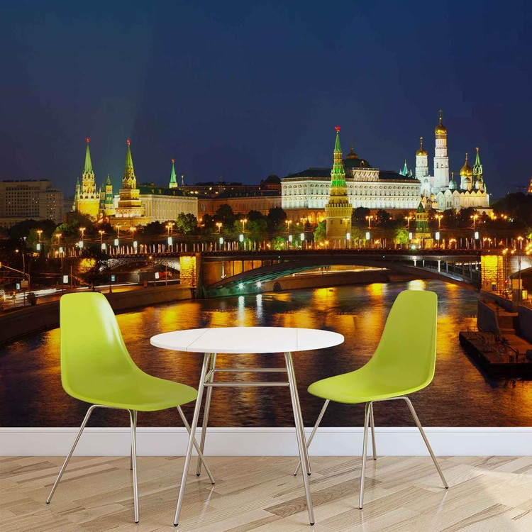 City Moscow River Bridge Skyline Night Poster Mural