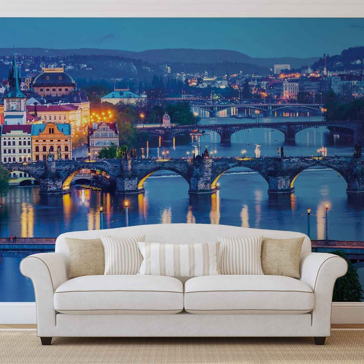 City Prague River Bridges Poster Mural