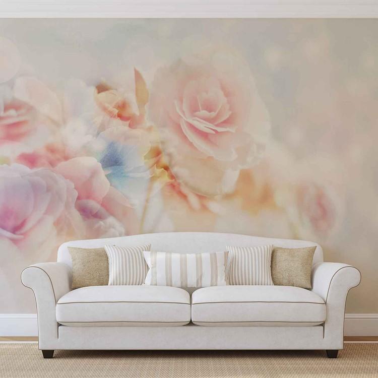 Couleurs en pastel de fleurs Poster Mural