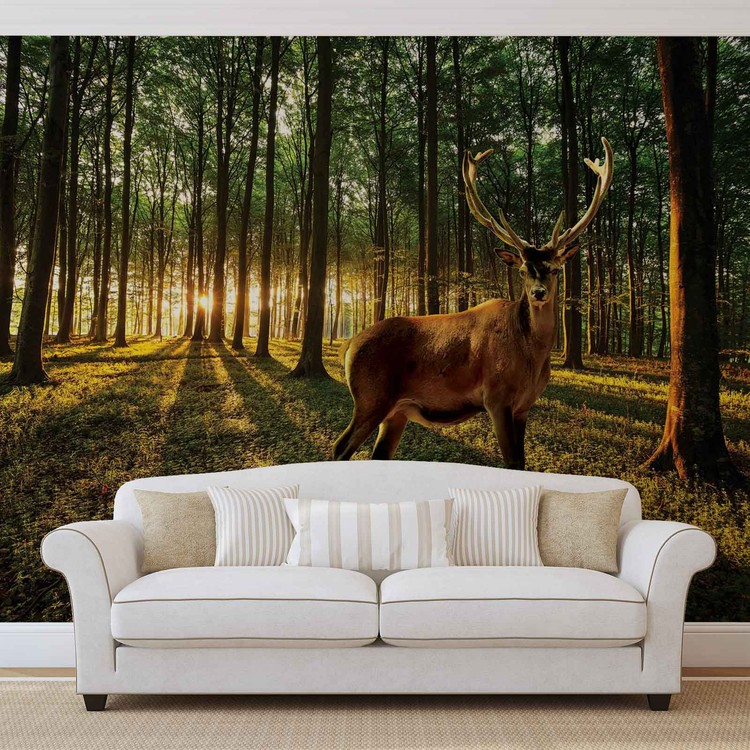 Deer Forest Trees Nature Poster Mural