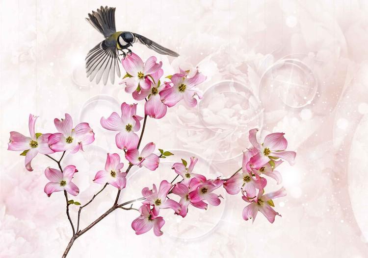 Fleurs Oiseau Poster Mural