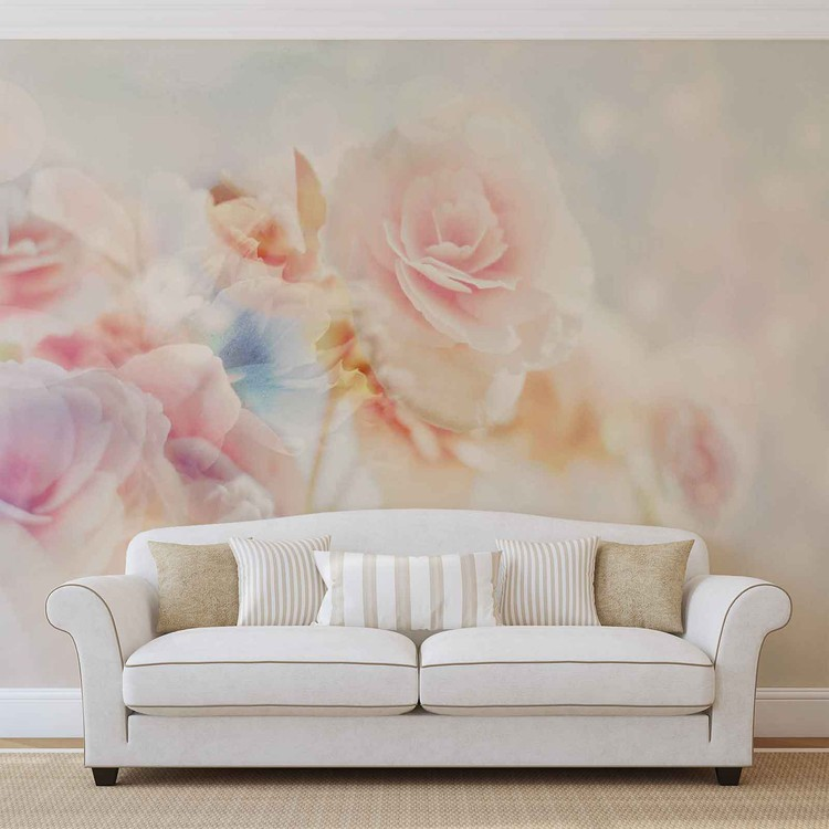 Flowers Pastel Colours Poster Mural
