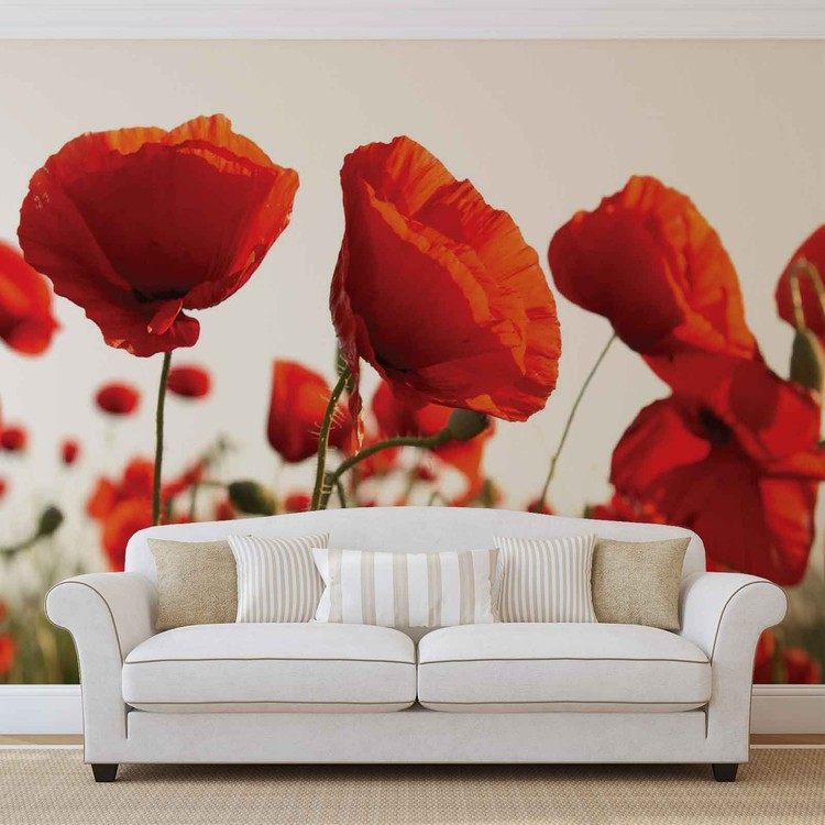 Flowers Poppies Field Nature Poster Mural