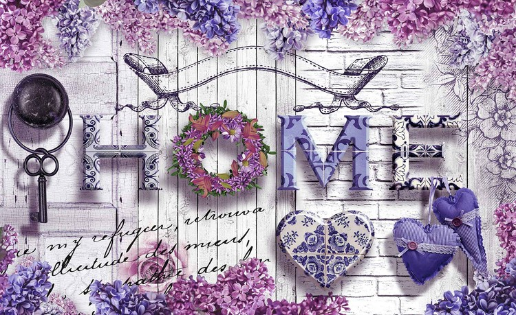 Home Flowers Vintage Poster Mural