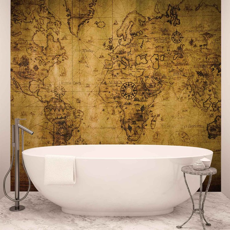 Sepia World Map Vintage Poster Mural