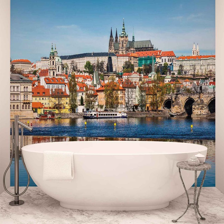 Ville Prague Bridge River Cathedral Poster Mural