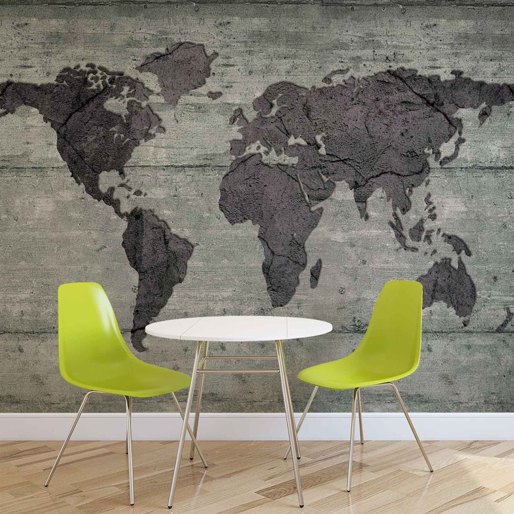 World Map Concrete Texture Poster Mural