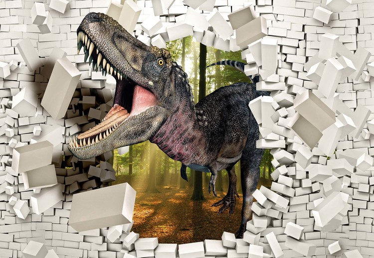 3D Dinosaur Bursting Through Brick Wall Wallpaper Mural