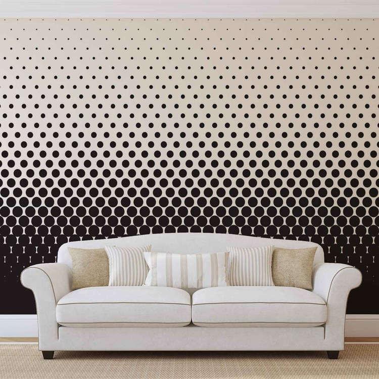 Abstract Black Black Dots Wallpaper Mural