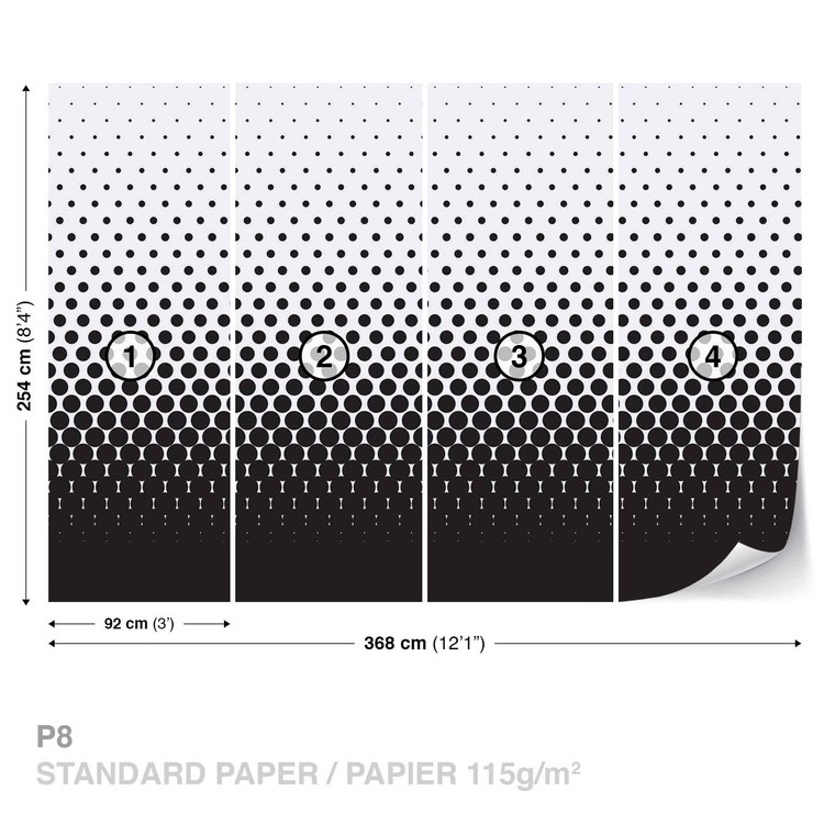 Abstract Black Black Dots Wallpaper Mural