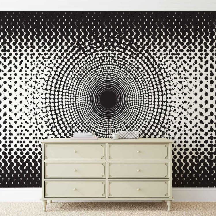 Abstract Black White Dots Wallpaper Mural