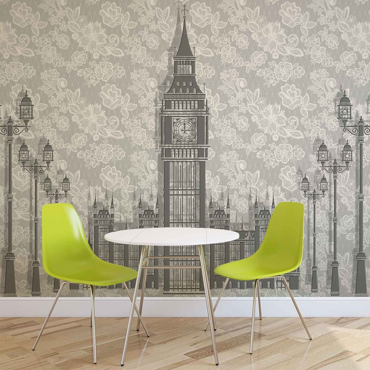 Abstract Floral London Design Wallpaper Mural