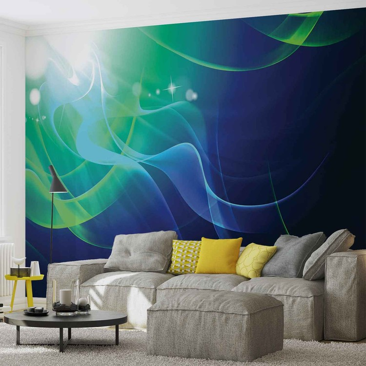 Abstract Light Pattern Blue Green Wallpaper Mural