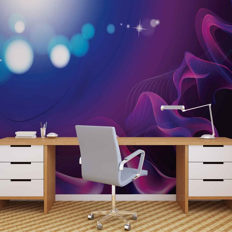 Abstract Light Pattern Blue Purple Wallpaper Mural