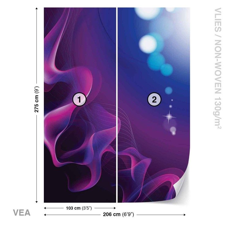 Abstract Light Pattern Blue Purple Wallpaper Mural