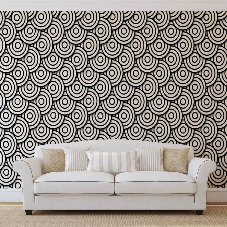Abstract Modern Circle  Black White Wallpaper Mural