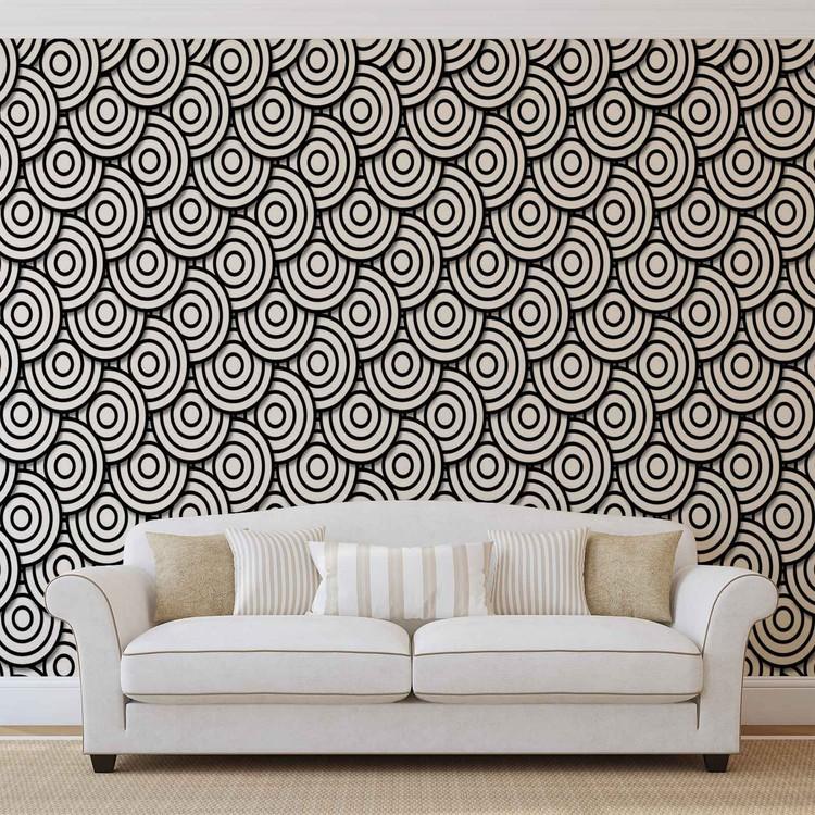 Abstract Modern Circle  Black White Wallpaper Mural