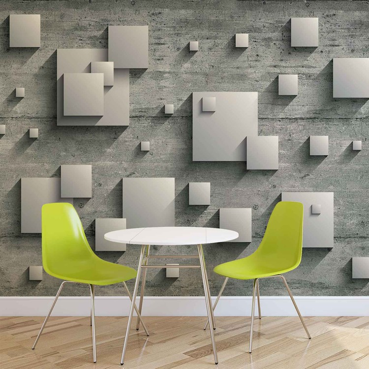 Abstract Modern Grey Silver Wallpaper Mural