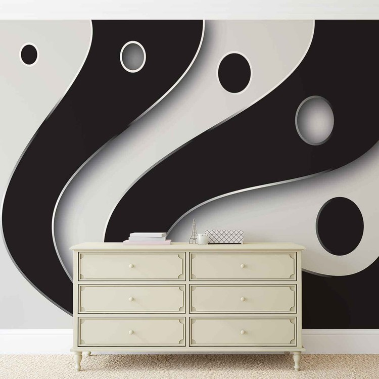 Abstract Modern Pattern Black White Wallpaper Mural