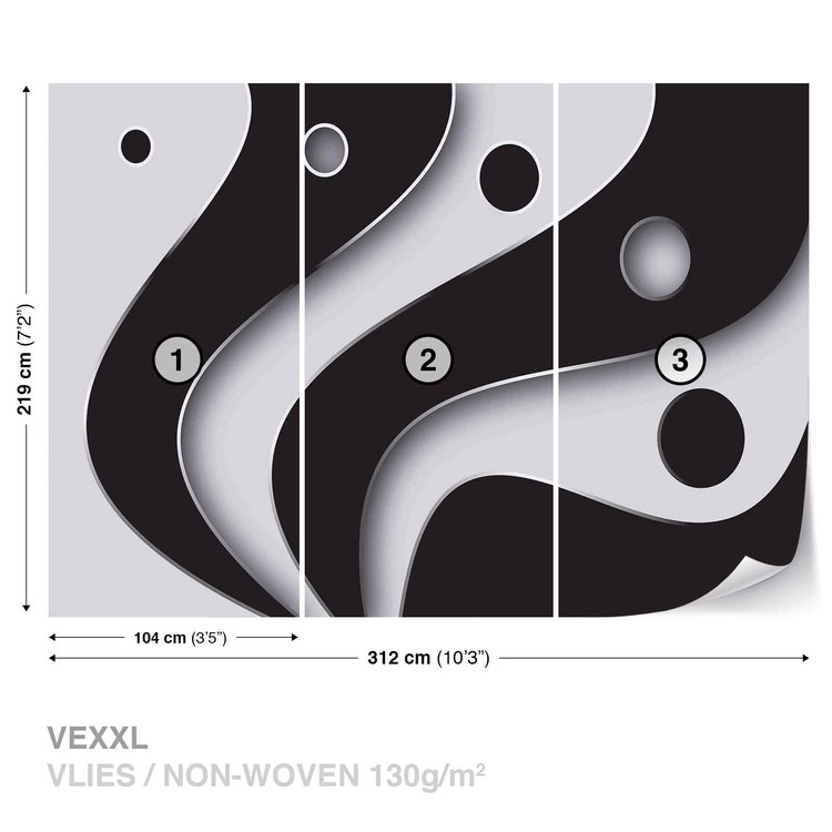 Abstract Modern Pattern Black White Wallpaper Mural