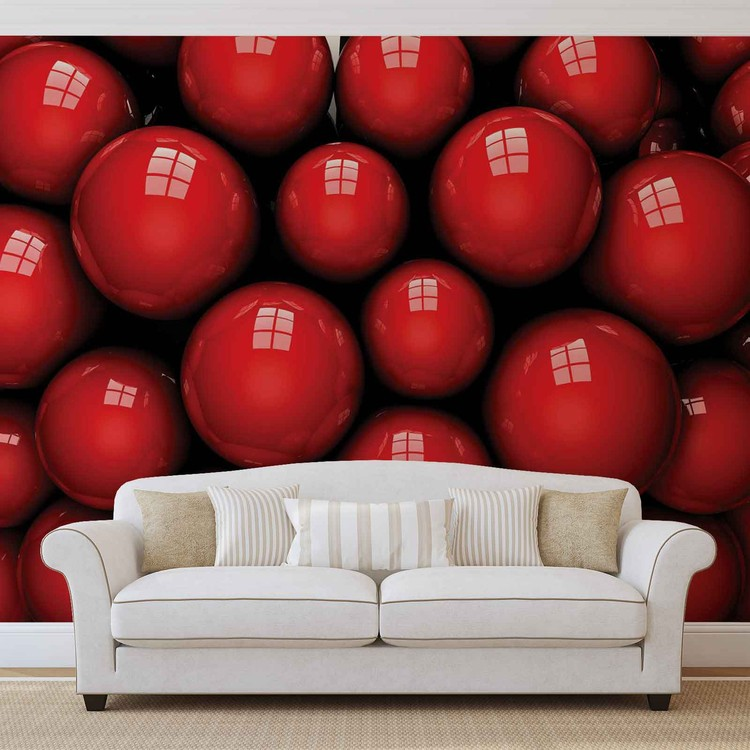 Abstract Modern Red Balls Wallpaper Mural