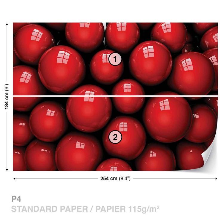 Abstract Modern Red Balls Wallpaper Mural