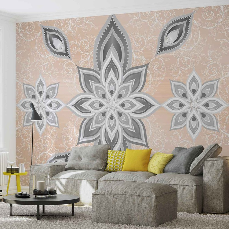 Abstract Pattern Silver Gold Wallpaper Mural