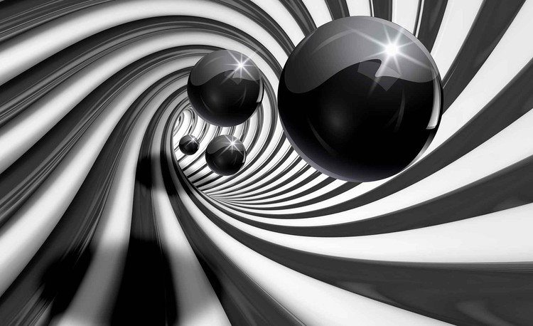 Abstract Swirl Modern Spheres Wallpaper Mural